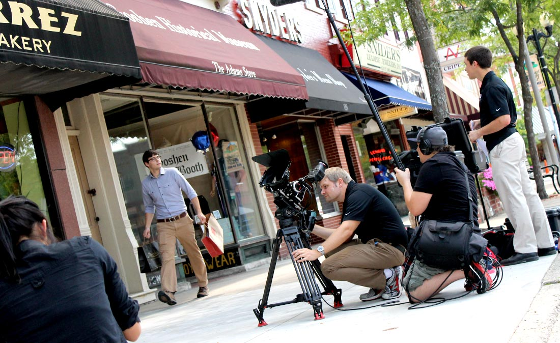 Behind the scenes - some days you can catch FiveCore Media at work downtown.